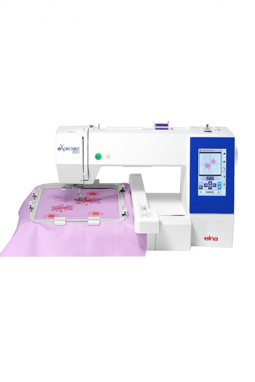 Elna eXpressive 830 Embroidery Machine Janome Brother Sewing Perth Western Australia Discount Price Blackmore and Roy Sewing Machine Sales Services Repairs Hoops Frame Size Work Area Design Stitch Count Speed