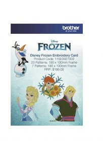 Frozen Embroidery Embroidery Card #25 contains 30 built-in Disney Frozen embroidery designs, and is suitable for ALL Brother Embroidery machines. Brother Disney Embroidery Card Frozen 25