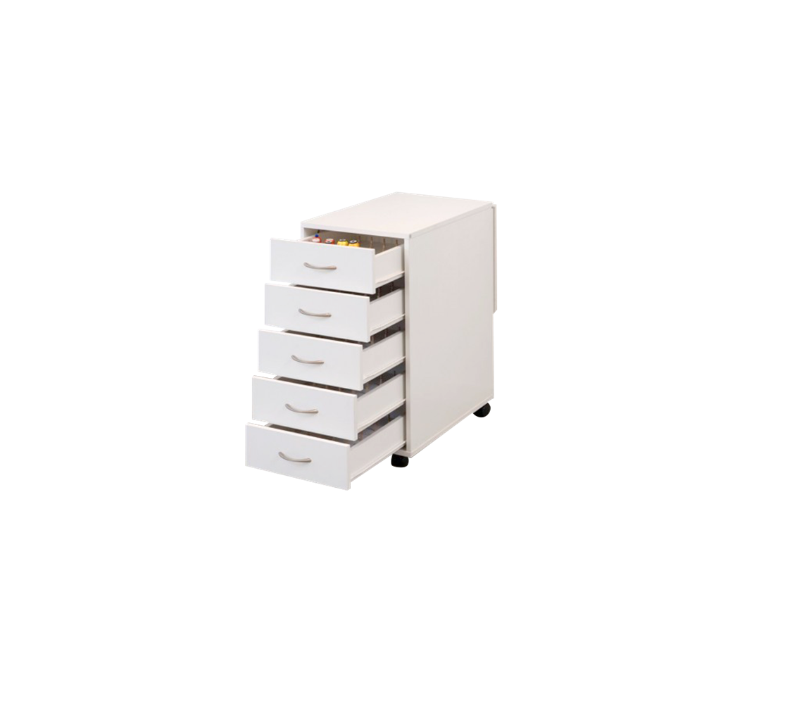 The modular thread storage cabinet holds it all. In 5 spacious and convenient drawers, you'll never have to worry about where you put a spool again!