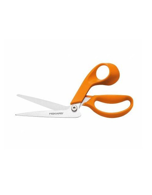 Longer blades help you get more done faster and a larger handle provides a more comfortable fit! The Bent Dressmaker Shears incorporate all of the high-quality features of the Original Orange-Handled Scissors and add longer, thicker blades to help you get more done faster when cutting long swaths of fabric. BR9441