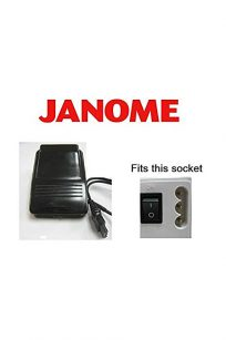 Janome Foot Control #042970103– Genuine Janome brand foot controller & foot pedal, suitable for 3-pin connector models. Please check the inlet on your machine. Please call for any enquiries.