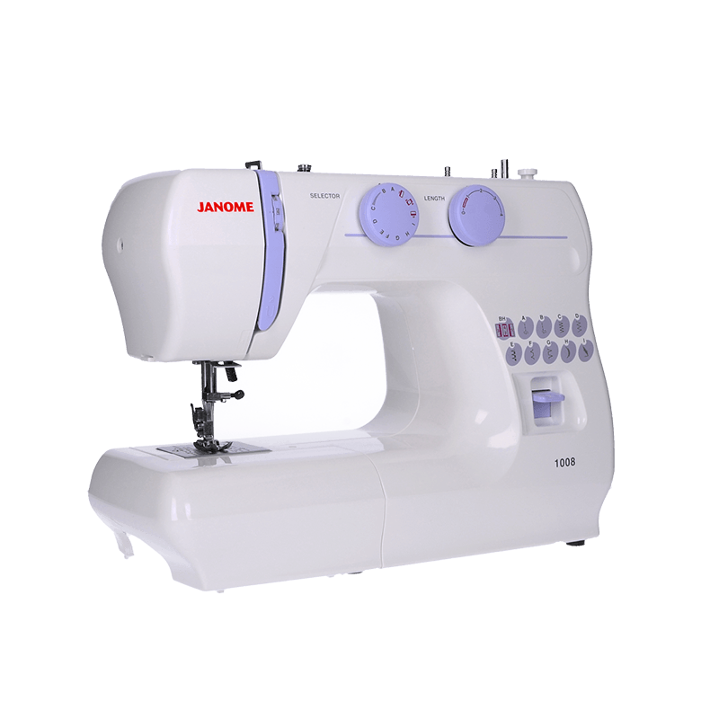 Janome 1008 Mechanical Sewing Machine Beginner Machine Cheap Discount Spotlight Lessons Stitches Buttonhole Feet Foot Control