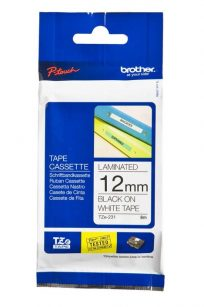 Brother Label Maker Tape Ribbon Cassette Refills Black on White TZE-231 12mm x 8m wide long discount cheap sale