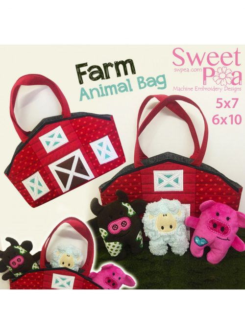 Sweet Pea Farm Animal Bag in the hoop project embroidery Australian Retailer Blocks Brother PES In-the-hoop Instructions USB CD DVD Download