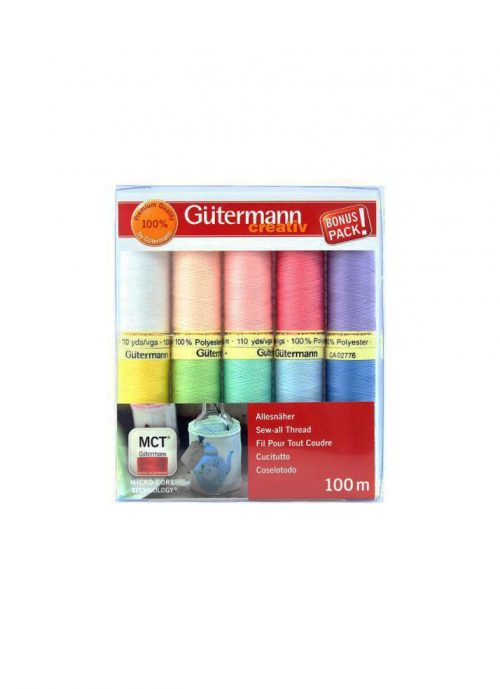 Gutermann Bonus Pack Polyester Thread Set Sew All Pastels Australia Spotlight Wholesale Discount Retailer Echidna HobbySew Sewing Quilting Patchwork Cotton Kit Quilting Dressmaking Seamstress Rasant Online Postage Freight Cheap Deal
