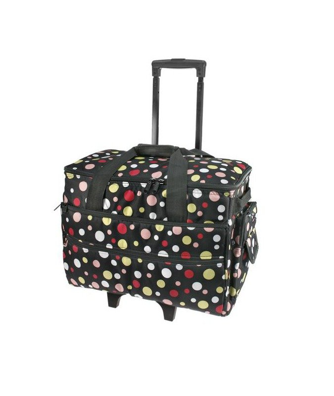 Black Multi Colour Polka Dot Sewing Machine Trolley Bag Red Wheels Roller Unit Storage Large Brother Janome Elna Juki Husqvarna Bernina Pfaff Necchi Spotlight Echidna HobbySew Birch Haberdashery Sewing Supplies Cute Gift Discount Postage Australia