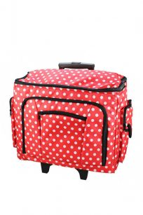 Polka Dot Sewing Machine Trolley Bag Red Wheels Roller Unit Storage Large Brother Janome Elna Juki Husqvarna Bernina Pfaff Necchi Spotlight Echidna HobbySew Birch Haberdashery Sewing Supplies Cute Gift Discount Postage Australia