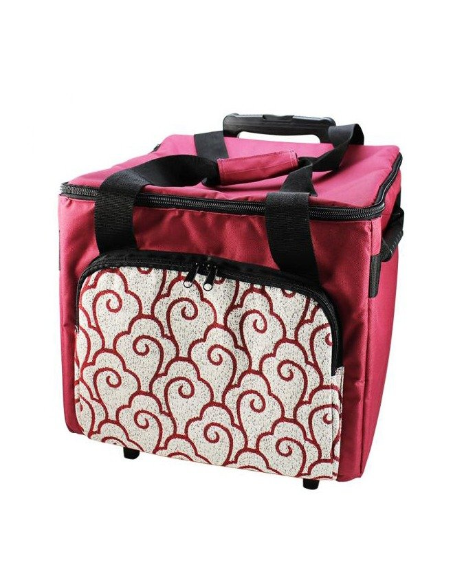 Overlocker Trolley Bag Red Carry Case Handles Pockets Storage Pouch Pouches Roller Wheels Convenient Classes Travel Workshop Australia Spotlight Discount Birch Haberdashery Echidna Baby Lock Janome Brother Elna Husqvarna Pfaff Bernina Necchi