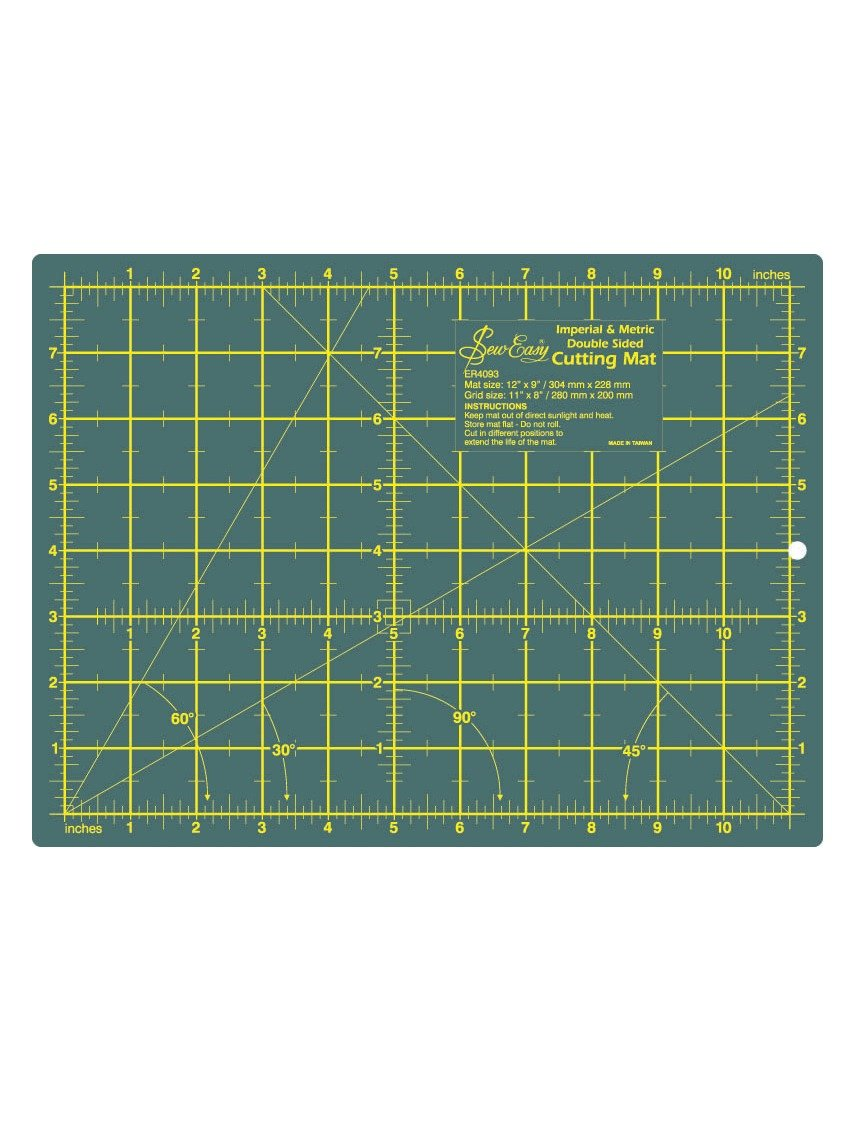 Sew Easy Cutting Mat 12 x 9 inches 30 x 22 centimeters centimetres millimetres
