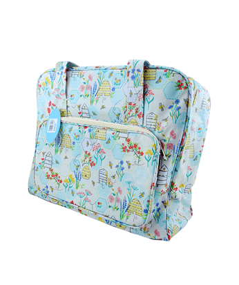 Sewing Machine Carry Bag Tote PVC Matt Canvas Beehive Patterns Bees Honeycomb Light Blue Teal Turquoise Aqua