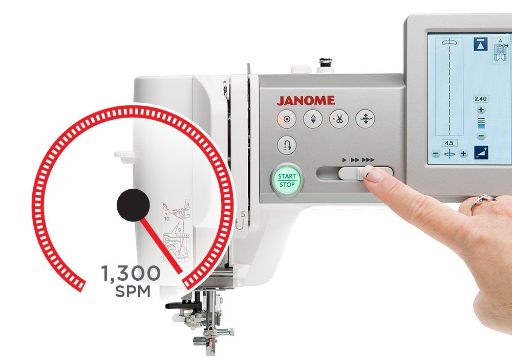 Janome Continental M7 Professional Sewing Machine Quilting Quilters Industrial Heavy Duty Performance New Australia Discount Postage Best Price Free Lessons Throat Space Large Features Information Details Specifications 1300 stitches per minute speeds variable control slider