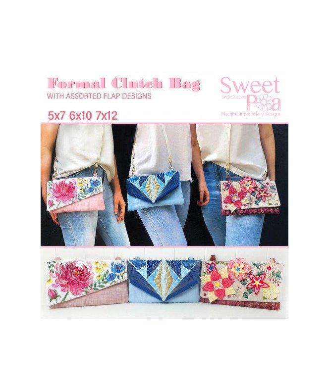 Sweet Pea Formal Clutches Bag Handbags Carry Bag CD Designs Set In The Hoop Embroidery Project Buy Online Retailer Postage PDF Brother Janome Pfaff Bernina Husqvarna Elna