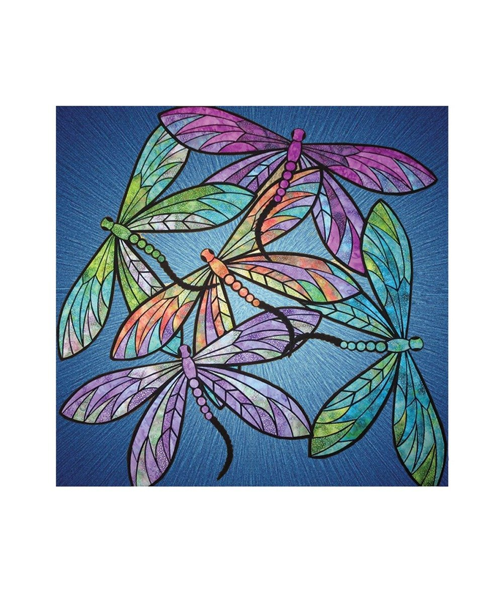 Dance of the Dragonfly Pattern Kit Rainbow Fabric Tutorial Sapphire Blue Rose Quartz Supernova Quilting Quilt Block Panel Base