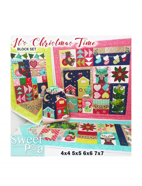 Sweet Pea It's Christmas Time CD Design Designs In The Hoop Projects Embroidery Quilt Blocks Runner Flag Sack Discount Retailer Australia