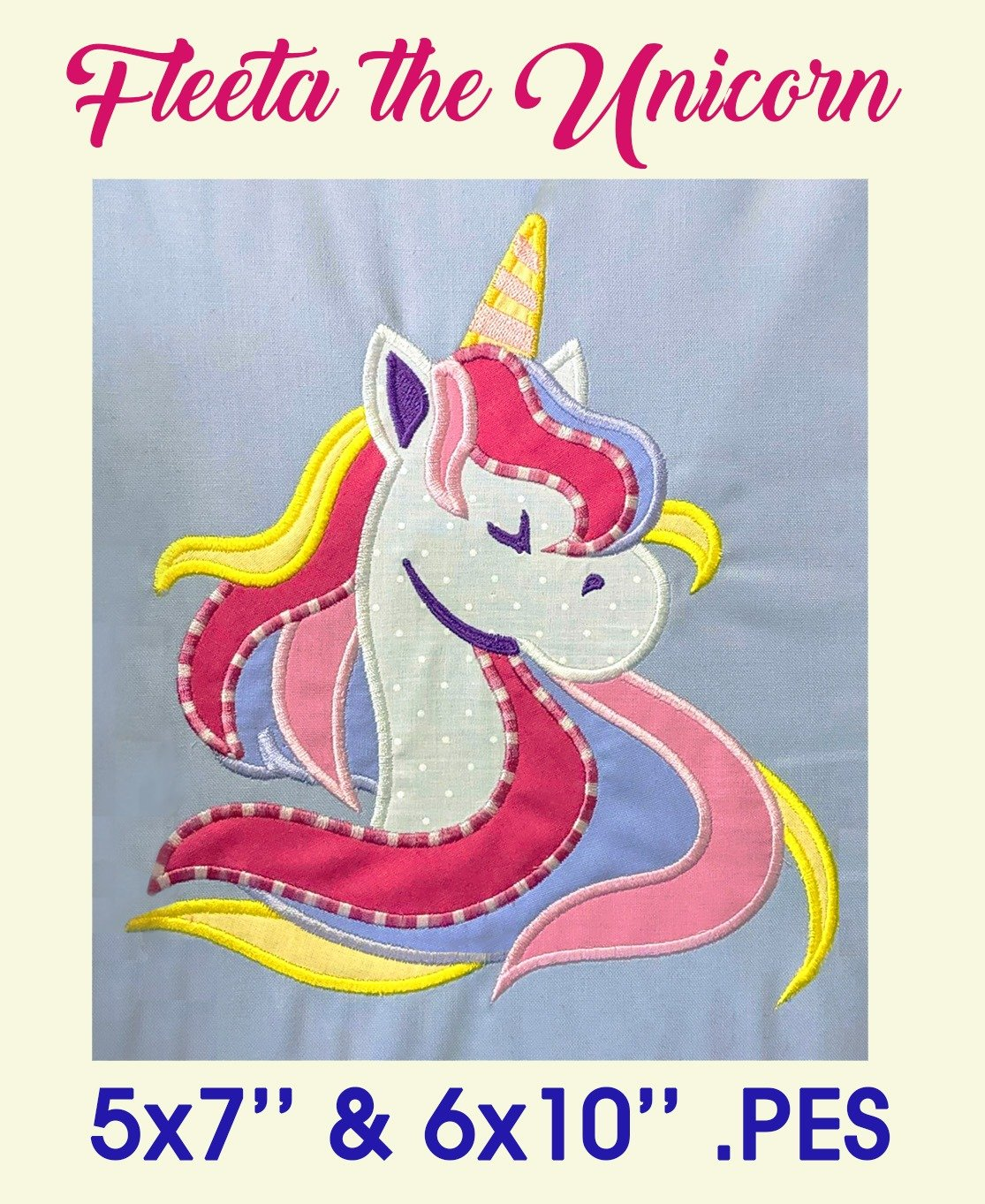 Fleeta the Unicorn Embroidery Applique .PES stitch file format Brother Machines Stellaire Quattro Innov-is Luminaire Dream Instructions Horse Pony Magical Rainbow Frame Instructions Australia Sweet Pea Digitize Digitise