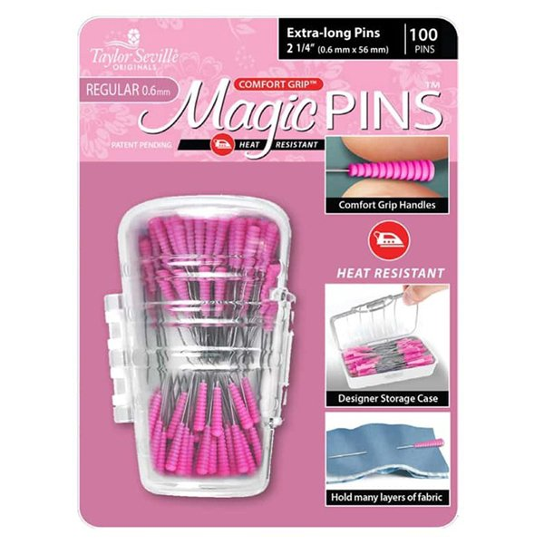 Taylor Seville Magic Pins Extra Long Pink Inches Centimetres Silicone Handle Grip Heat Resistant Iron Proof