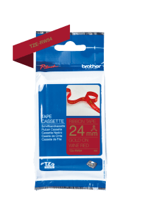 Brother TZe-RW54 Satin Ribbon Gold on Wine Red 24mm x 4m Wide Big Long Australia Retailer Officeworks Postage Discount Dealer Craft Scrapbooking Embellish P-Touch Elite