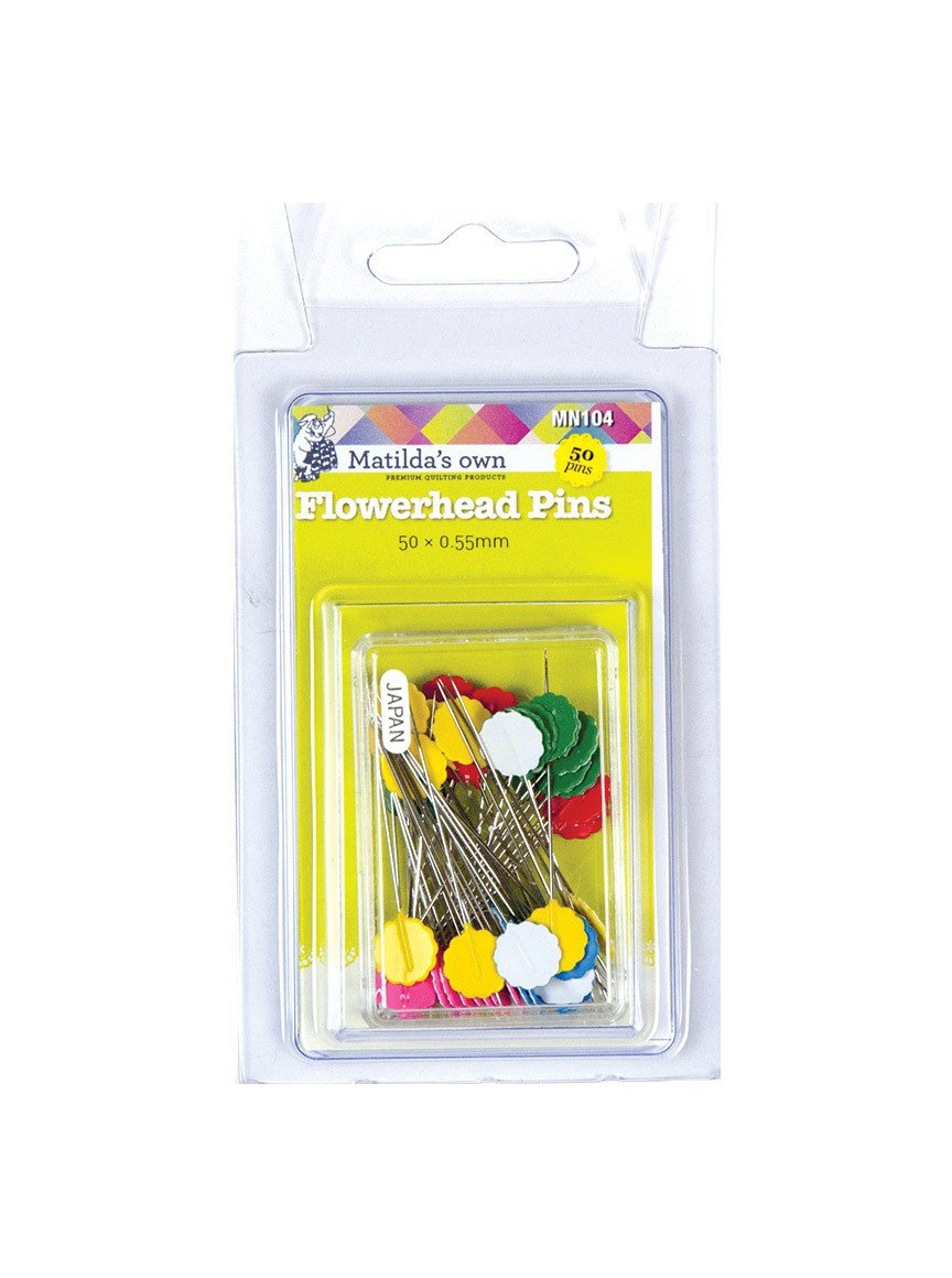 Matilda's Own Flowerhead Pins 50pc 50 pack Premium Quality Applique Dressmaking Quilting Seams Iron Press Heat Flat
