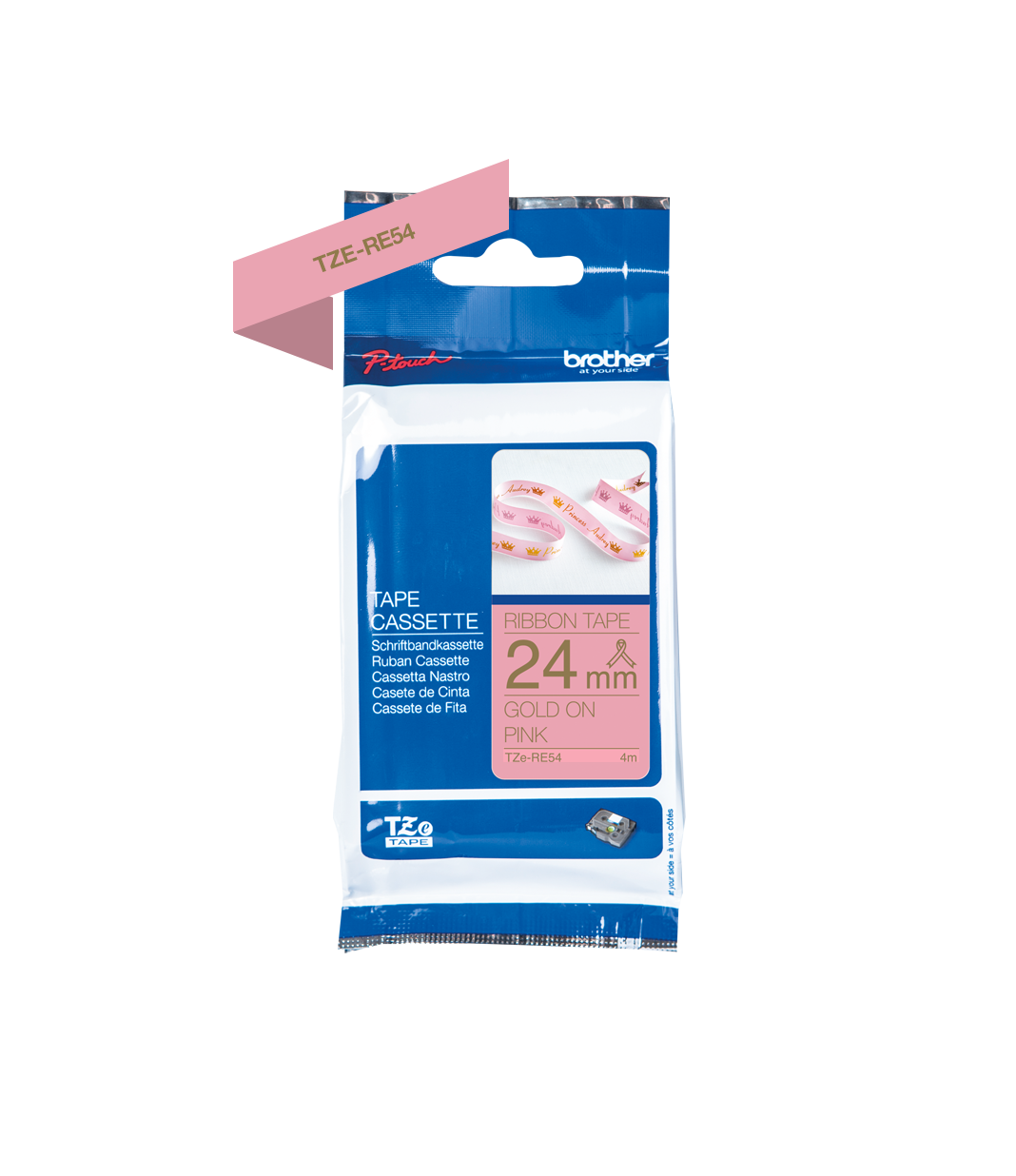 Brother Tape Ribbon Cassette Refill Brother TZe Gold on Pink Pastel Pink P-Touch Embellish Lite Craft Anniversary Wedding Australia Discount Dealer Retailer