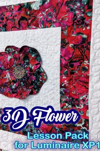 3D Flower Project Panel Quilt Fill Stipple Centre Luminaire XP1 Lesson Tutorial Presented Demonstration Instructions Tutorial How To My Design Centre Scanning InnovEye Camera Australia Retailer Dealer Discount Videos PDF Notes Step by Step