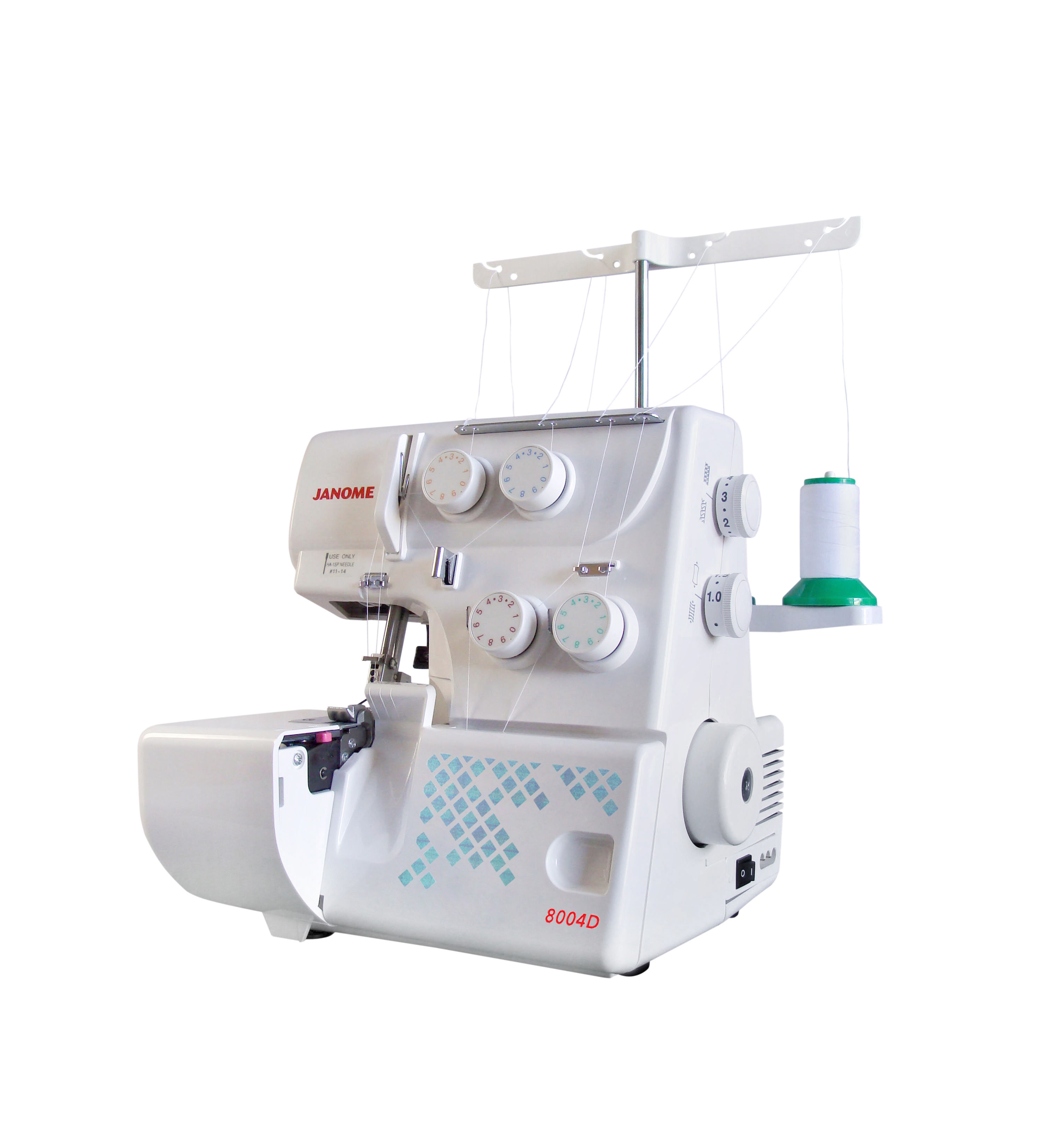 Janome 8004D Four Thread Overlocker Easy Basic Beginner Spotlight Cheap Discount Free Lessons Differential Feed Stretch Fabric Cotton Wovens Lower Looper Tensions