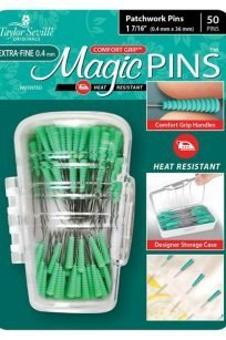 Taylor Seville Magic Pins Extra Fine Patchwork Quilting Green Heat Resistant Grip Iron Proof Safe