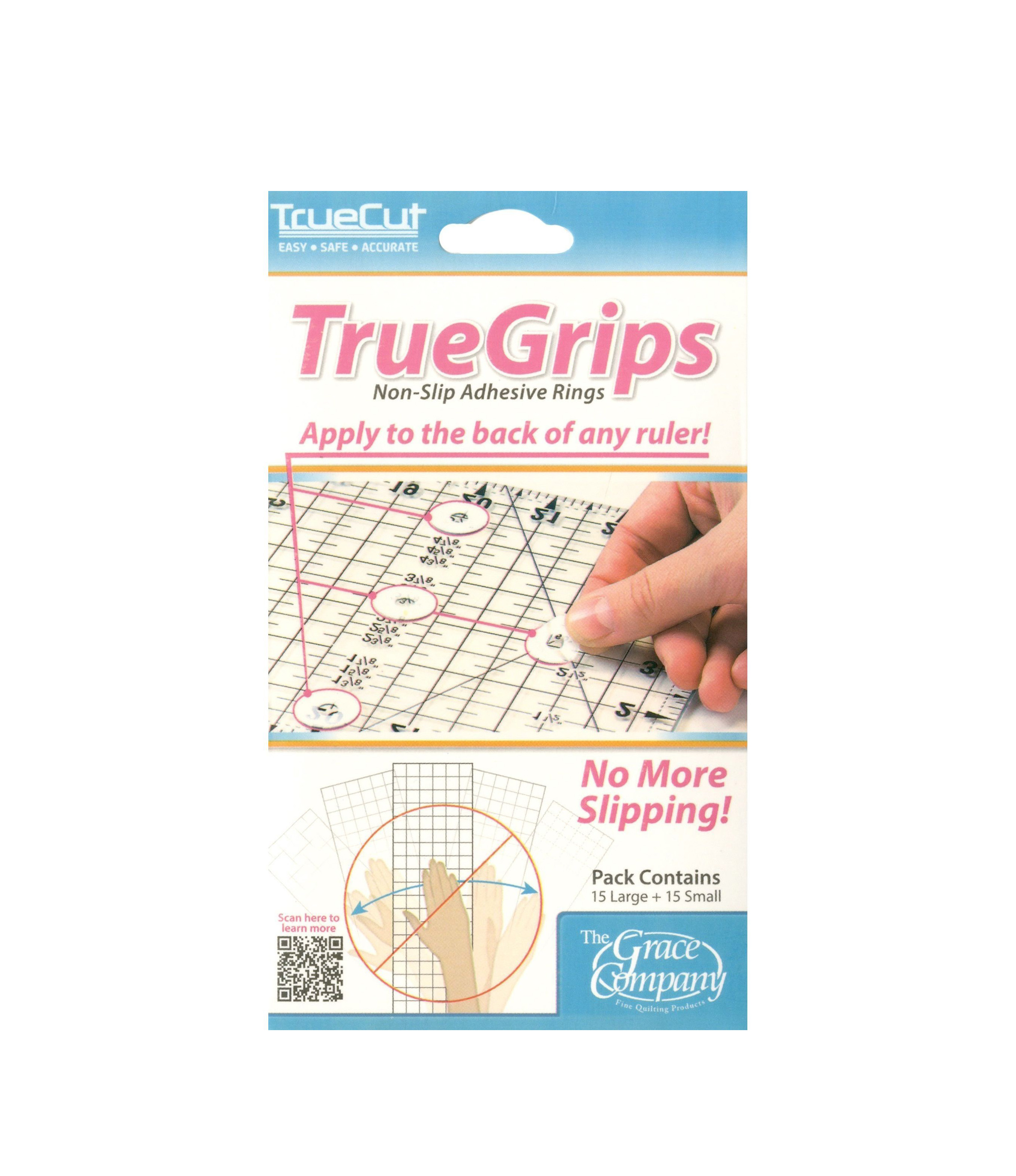 True Grips for Ruler Grip Non Slip Adhesive Grip Teflon Anti Slip True Cut Punch with Judy Quilting Rotary Cut Mat
